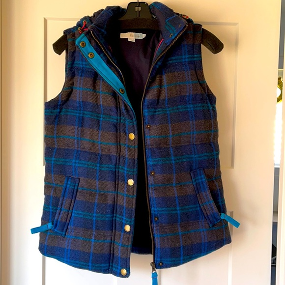 BODEN Hooded, wool plaid, down vest